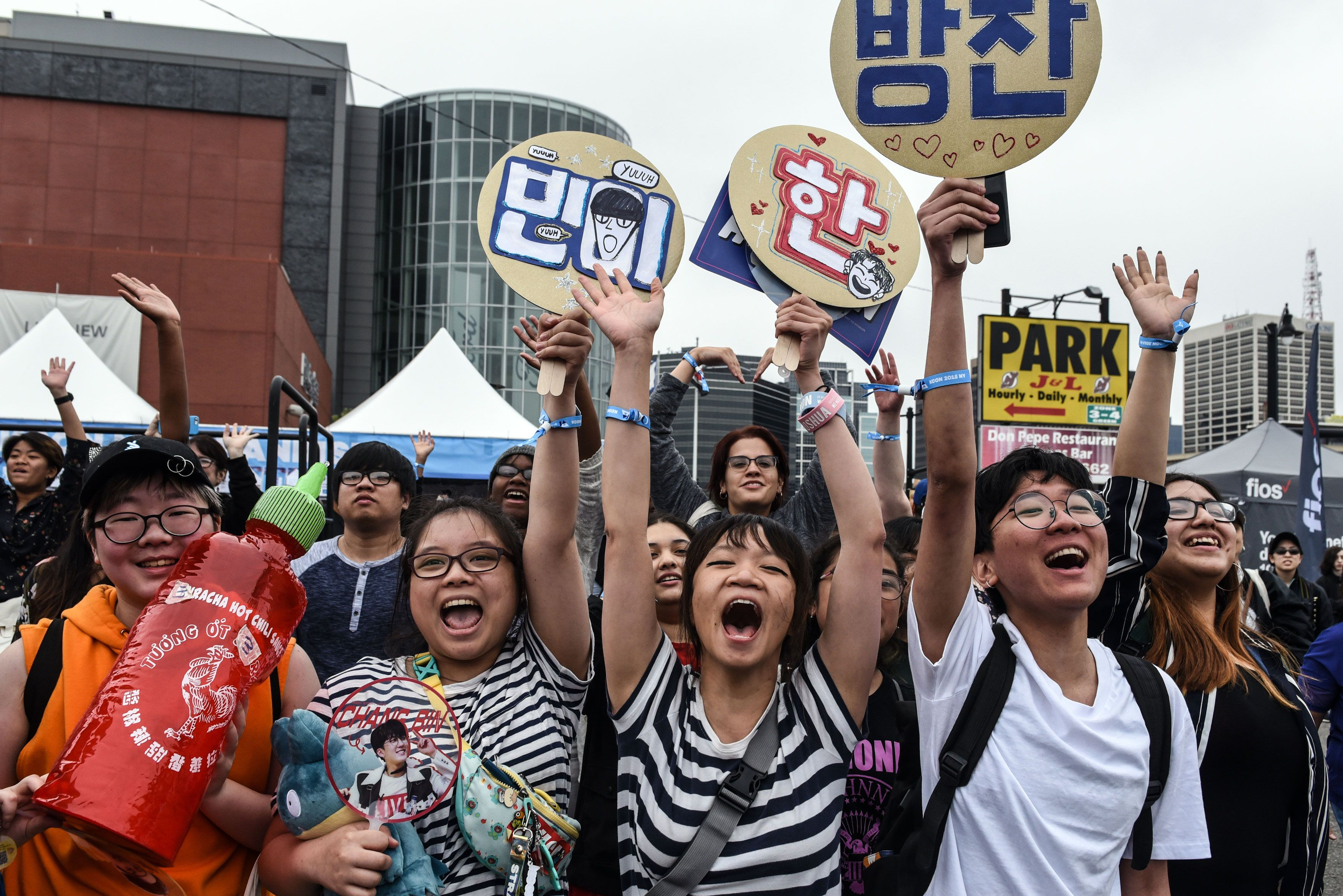NEWARK, NJ - JUNE 23: Fans of Korean pop music attend a convention, called Kcon, that brings together some of the most popular pop bands from Korea on June 23, 2018 in Newark, New Jersey. This Korean music convention has been held annually in North America since 2012. (Photo by Stephanie Keith/Getty Images)